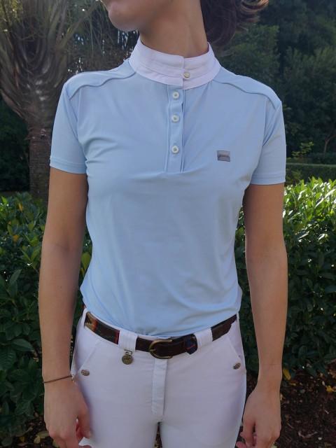 camisa de prova fem azul clara frente corpo