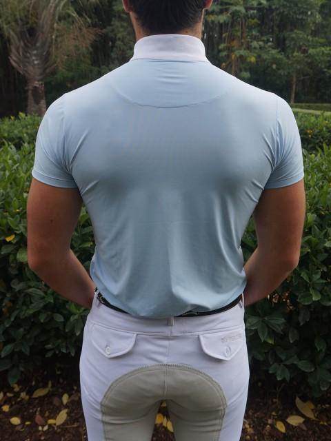 camisa de prova masc azul clara costas