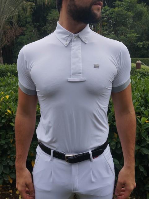 camisa de prova masc cinza frente no corpo