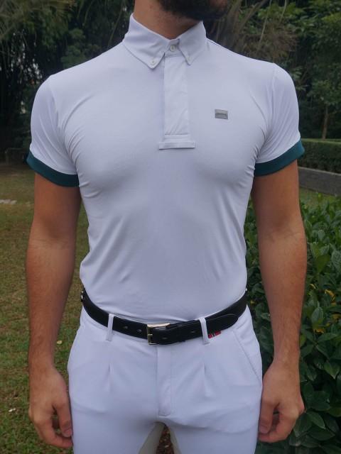 camisa de prova masc verde frente corpo